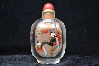decorate china Collectible Old glass inside Paint flower bird rare Snuff Bottle