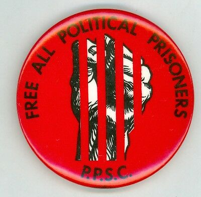 Vintage 1970s-80s PPSC Free All Political Prisoners Cause Pinback Button