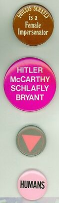 4 Vintage 1980s Gay Rights Cause Protest Pinback Buttons Phyllis Schafly