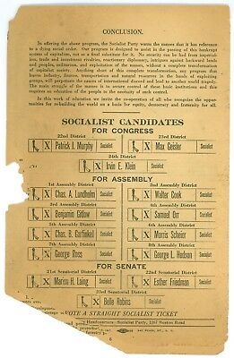 Vintage 1918 New York Assembly Socialist Party Political Campaign Pamphlet