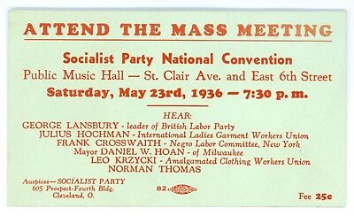Vintage 1936 Socialist Party National Convention Political Campaign Card Thomas