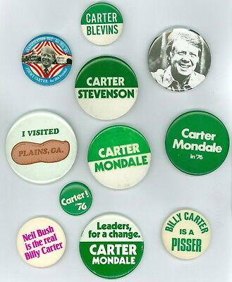 11 Vintage 1976-77 President Jimmy Carter Political Campaign Pinback Buttons BLV