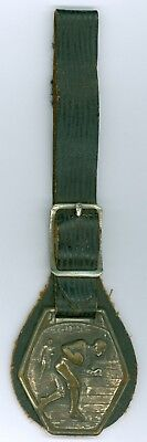 Vintage 1900s-20s College Football Metal and Leather Watch Fob
