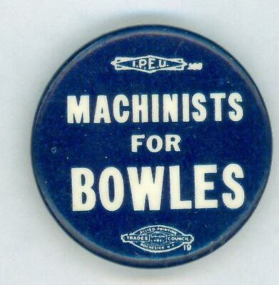 Vintage 1948 Connecticut Governor Chester Bowles Political Camp Pinback Button