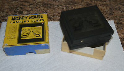 "1930s Disney MICKEY MOUSE ""Firefighters"" boxed L set of GLASS LANTERN SLIDES"