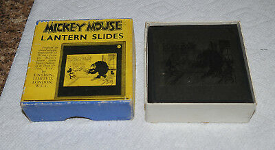 "1930s Disney MICKEY MOUSE ""Gorilla Mystery"" boxed C set of GLASS LANTERN SLIDES"
