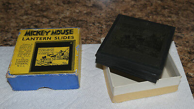 "1930s Disney MICKEY MOUSE ""Delivery Boy"" boxed G set of GLASS LANTERN SLIDES"