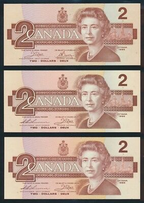 "Canada: 1986 $2 Crow-Bouey & Thiessen-Crow ""LOT OF 3"". P94a & 94b UNC Lt hand"