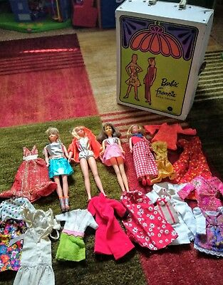 Lot  of  Vintage 60's Mattel Barbie Family Dolls With Clothing + Case