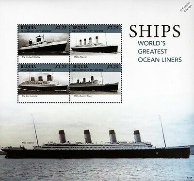 World's Greatest Ocean Liners (Titanic/Queen Mary) Ship Stamp Sheet 2013 Bequia