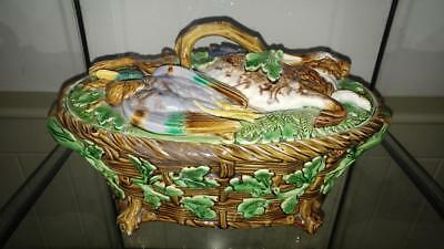 Impressive Antique Minton Majolica Hare & Mallard Game Pie Tureen & Cover C 1864
