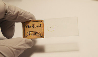 Antique 1800s The Times MICROPHOTOGRAPH MICROSCOPE GLASS SLIDE