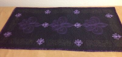 Quilt Table Runner, Floral And Scroll Stitches, Machine Quilted, Dark Purple