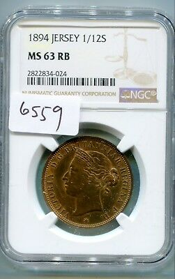 Jersey 1/12 Shilling 1894 MS63 RB  lotsept6559