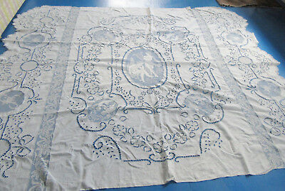 Antique Pierced Linen Figural Filet Lace Angels Harp Putti Embroidery Bed Cover