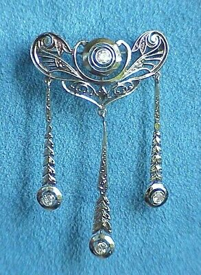 Antique ART NOUVEAU Belle Epoque Diamond 14K Gold Filigree Movement Pin Brooch