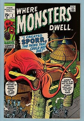 Where Monsters Dwell # 2 Vfn (8.0) Marvel Monsters- Glossy High Grade Cents-1970