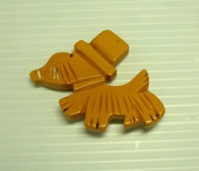 Vintage Retro Etched Bakelite Scotty Dog w/ Hat Brooch Pin A116