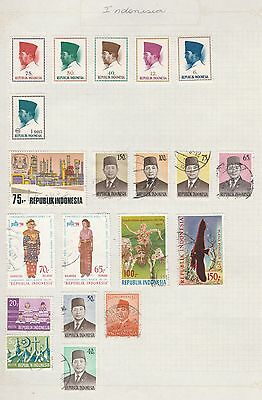 INDONESIA Assorted Stamps on Old Book Pages-As Per Scan-Removed to send #