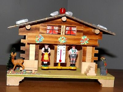 Vintage West Germany Swiss Chalet w/ Couple Weather House Thermometer