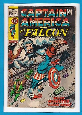 """Captain America & The Falcon #135_March 1971_Vg Minus_""""more Man Than Monster""""!"""