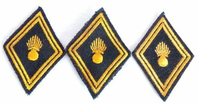 (3) French Army Model 45 Engineering Diamond Shoulder Patches