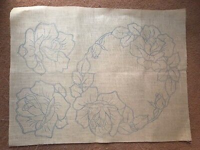 Vintage Printed/stamped Linen Dressing Table/sideboard Set To Embroider - New