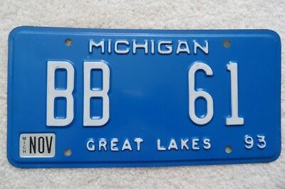 Michigan 1993 Personalized – Bb 61- License Plates – Look