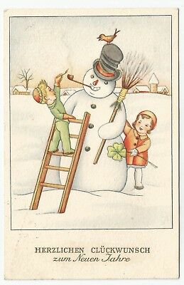 t children early old antique postcard greetings snowman