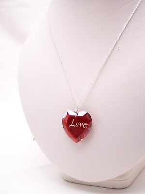 .925 Sterling Silver LOVE Necklace Heart $60 Macy's RED