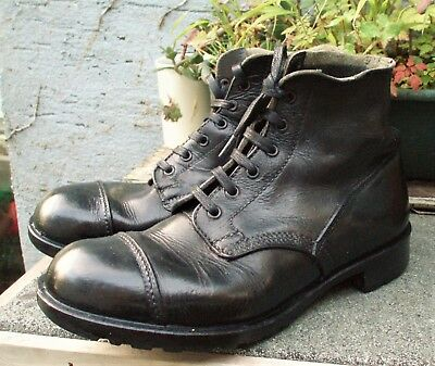 9 L BRITISH ARMY Black VINTAGE DMS BOOTS Military Parade Falklands WW2 Commando