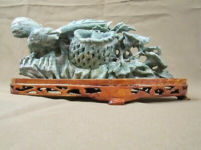Large Intricately Hand Carved Chinese Mottled Green Jade Eagle Figurine On Stand