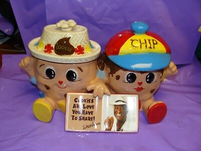 Famous Amos Chip and Cookie Collectible Double Ceramic Cookie Jar