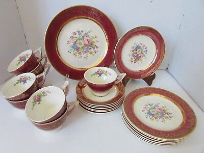 Vtg Century Salem China 22 Pcs Encrusted Gold Red Aristocrat 23 Kt Plates Cups