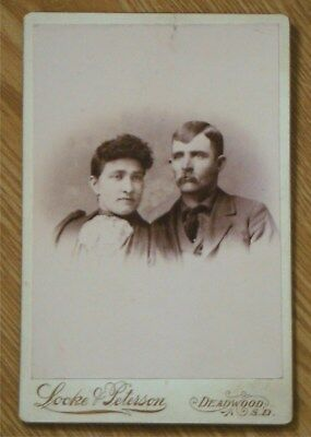Antique Cabinet Card Deadwood SD couple Locke & Peterson photo