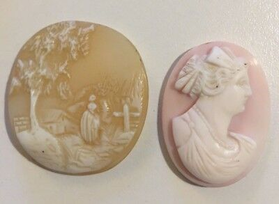 Lot of Loose Antique Carved Art Nouveau Cameos Ovals to Mount Not Scrap Pin Like