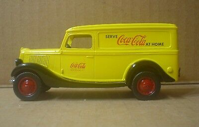 Coca Cola Die cast 1936 Ford Panel Truck ~ Nostalgic Miniatures ~ Yellow Roof #1