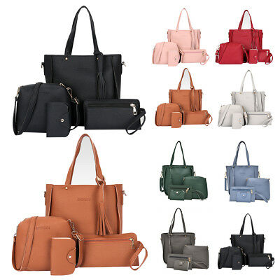 4Pcs Womens Leather Handbag Cross Body Bag Shoulder Tote Messenger Satchel Girls