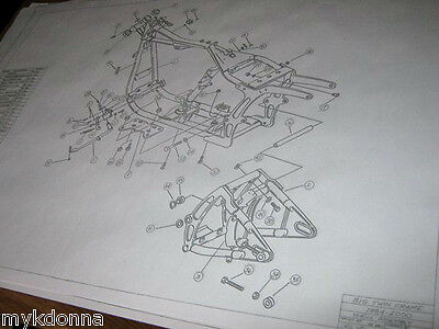 HARLEY DAVIDSON Softail Frame Blueprint Drawing HD poster print Soft Tail parts