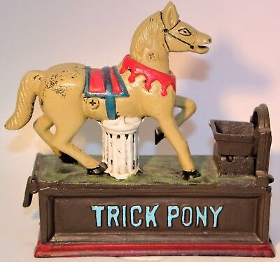Trick Pony Cast Iron Metal Bank Vintage Look Reproduction Heavy Works Great!