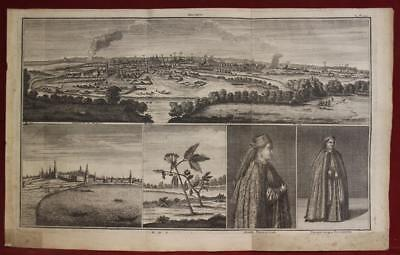 Moscow Russia 1725 Cornelis De Bruyn Antique Original Copper Engraved City View