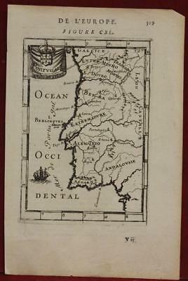 Portugal1683 Alain Manesson Mallet Antique Original Copper Engraved Map