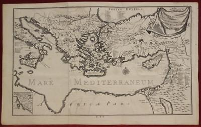 Mediterranean Sea Middle East 1725 De Bruyn Antique Original Copper Engraved Map
