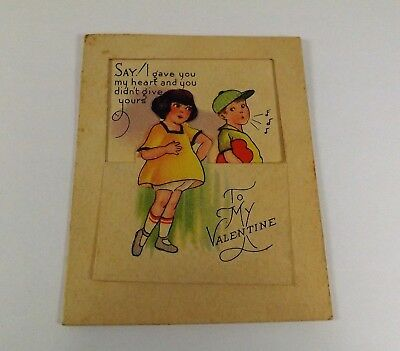 "Vintage 1940's Valentine Card Boy in Cap Whistling & Girl 3 1/2"" x 2 3/4"""""