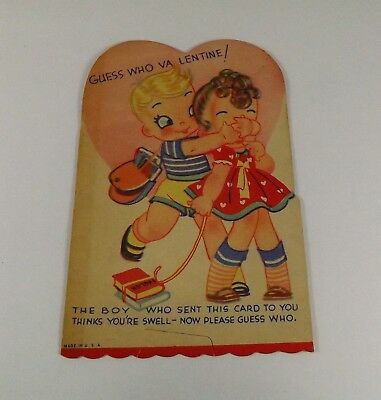 "Vintage 1940's Valentine Card School Boy & Girl ""Guess Who"" 5"" x 3 1/4"""""