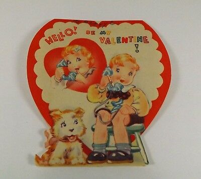 "Vintage 1940's Valentine Card Little Boy & Girl On Telephone Puppy  4"" x 3 3/4"""