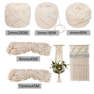 Macrame Craft Rope String Natural Beige Cotton Twisted Cord 1mm-10mm Size DIY