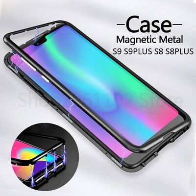 360 Magnetic Adsorption Metal Case Samsung Galaxy S9/S8 Tempered Glass Cover -LS