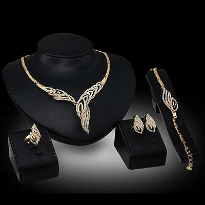 Pretty Women 18K Gold Plated Wedding Jewelry Sets Crystal Leaf Necklace Set ED