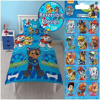 Paw Patrol Spy Single Duvet Cover Set Rotary + Free Small Foil Stickers